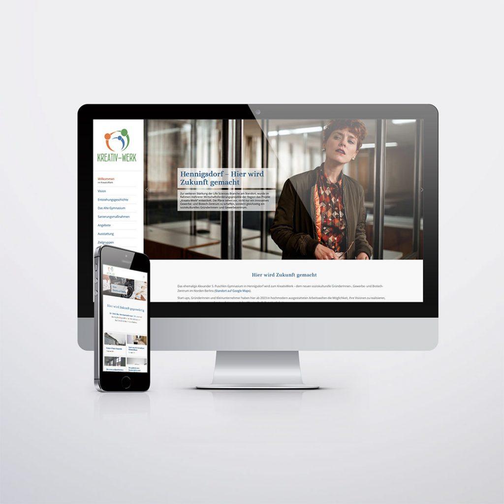 Webdesign für Kreativ-Werk Hennigsdorf